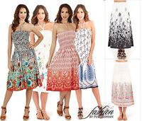 Ladies 3 In 1 Strapless Bandeau Beach Summer Dress Long Maxi Skirt Size 8-22