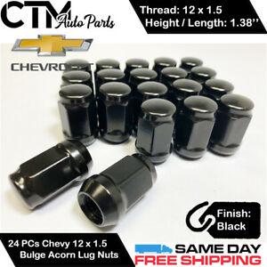 24PC CHEVROLET BLACK CONICAL SEAT 12X1.5 WHEEL LUG NUTS BULGE ACORN FOR CHEVY