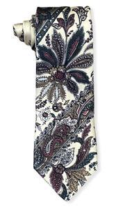 """Brioni for Luciano Men's Multicolor Striped Floral Paisley Silk Tie Italy 3"""" euc"""