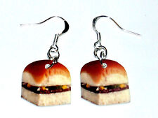 Krystal Hamburger HANDMADE Plastic Charm Earrings White Castle Fast Food Snack