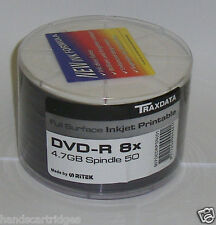 100 x Traxdata face complète imprimable DVD-R 4.7GB GO 8X