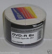 100 x Traxdata Completo Viso Stampabile DVD-R 4.7 GB 8x