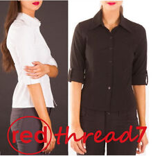 Solid 3/4 Sleeve Button Down Shirts for Women