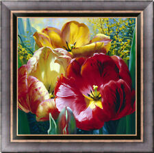 """Hand-painted Original Oil painting art Floral tulip On Canvas 30""""x30"""""""