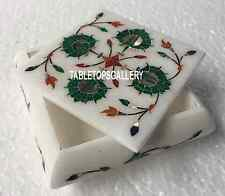 "4""x4""x2'' Marble Jewelry Box Inlay Malachite Stone Art Gift for Girl Decor H3517"