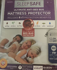 New listing Sleep Safe Ultimate Anti-Bed Bug Mattress Protector Queen size Zipper Arm&Hammer