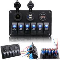 12V 24V Boat Marine Waterproof 6 Gang LED Rocker Switch Panel Circuit Breaker