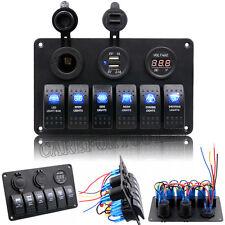 12V/24V Car Boat Waterproof 6 Gang 5Pin LED Switch Panel Rocker Circuit Breaker