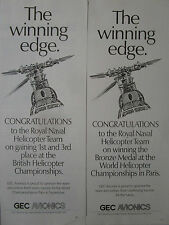 8-11/1989 2 PUBS GEC AVIONICS ROYAL NAVAL  HELICOPTER TEAM ORIGINAL AD
