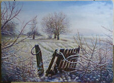 ORIGINAL OIL Painting Hand painted winter Landscape Artwork wall ART decor snow