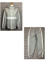 NIKE MENS SMOKE GREY HOXTON WOVEN HOODED POLY FULL ZIP TRACK TOP PANTS