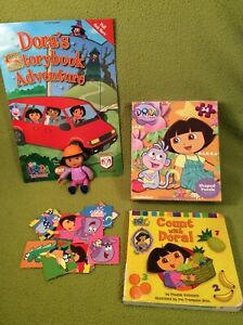 Dora The Explorer Lot-Dora-2005-24 Pc Puzzle-Memory Game-Counting Board Book #2