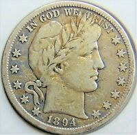 1894 S UNITED STATES, Barber, Half Dollar grading About VERY FINE.