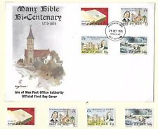 Isle Of Man F.D.C.+ M/M Set Manx Bible Bi-Centenary Sg71-74; 1975 + Insert.