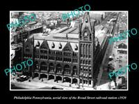 OLD HISTORIC PHOTO OF PHILADELPHIA PENNSYLVANIA BR0AD St RAILROAD STATION c1920