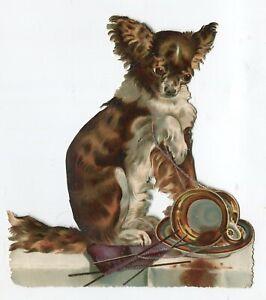 Oblaten  scrap die cut chromo  Hund Tisch Strickzeug Tasse  14.5 cm
