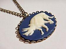 DINOSAUR SKELETON CAMEO PENDANT bronze necklace navy ivory triceratops charm Z5