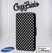 Polka Dot Black And White Phone Cover Leather Flip Case fits iPhone / Samsung 44