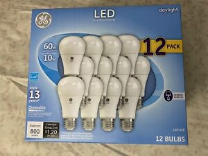 GE LED Daylight A19 Light Bulbs 10W, 60W Replacement Dimmable 12-Pack