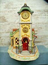 Party Lite Olde World Village Clock Tower Village Tealight Candle Holder House