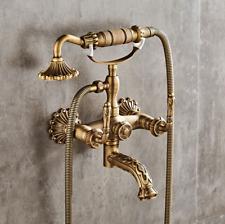 Wall Mount Swivel Antique Brass Bath Tub Shower Faucet Hand Spray Mixer Taps