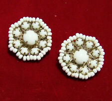 Vintage Miriam Haskell Milk Glass Seed Bead Earrings Gold Tone Setting 616hSZ