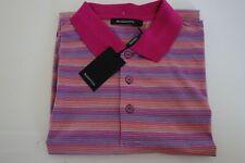 Bugatchi Stripe Polo shirt mercerized cotton L $129 NWT