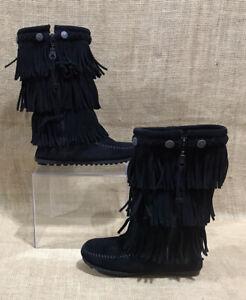 Girl's Minnetonka 3-Layer Fringe Boots Black Leather Sz 13