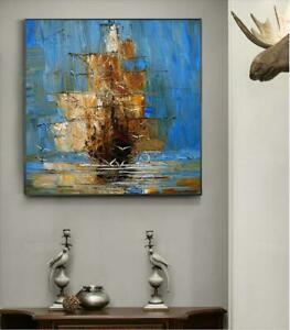 """HH024 Home decor 100% Hand-painted art oil painting on canvas Boat Unframed 36"""""""