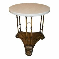 Round Marble Top & Metal Tuscan Style Side Table