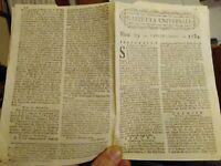 1784 GAZZETTA UNIVERSALE SU GUERRE; PATTO COL DIAVOLO A BOLOGNA; PIRATI; ecc.