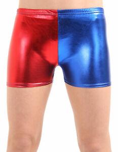 GIRLS RED BLUE SHINY METALLIC HOT PANTS  SHORTS HALLOWEEN FANCY DRESS ACCESSORY