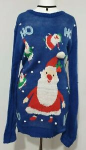 NEW Christmas Jumper UGLY SWEATER Blue SANTA Knitted Ladies Size UK-16 Pom Poms