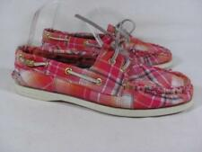 Sperry Top Sider Madras Plaid Boat Shoe Women size 7.5 M Pink