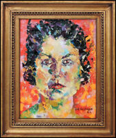 John Costigan Original Oil Painting on Canvas Signed Female Portrait Framed Art