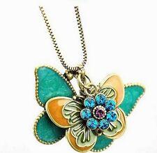 GirlZ! Hot Fashion vintaged multicolor Double butterfly pendant necklace
