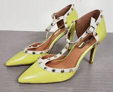 Halogen Martine Studded T-Strap Pump, Citrus Color Leather Womens Size 5