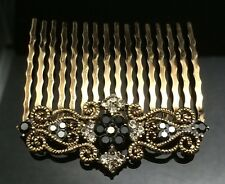 Art Deco Black Crystal Hair Comb Clip Pin Gold Antique Formal Wedding Diamante