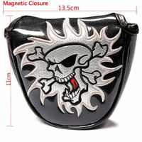 King Skull Black Mallet Golf Putter Cover Magentic Headcover Fit Most Brand