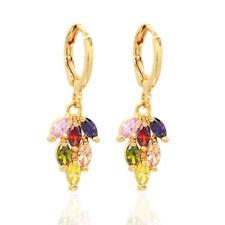 Women 18K Gold Plated Colorful CZ Cubic Zirconia Dangle Drop Earrings Jewelry