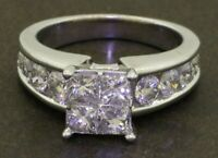 Heavy 14K WG 2.64CTW Princess diamond cluster wedding/engagement ring size 7.5