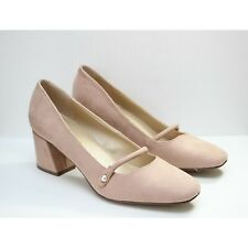 68ce75fa NWOB Unisa Pink Blush Suede Pearl Strap Block High Heel Pumps Size 9