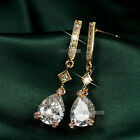 18k rose gold gf made with tear drop SWAROVSKI crystal stud earrings dangle