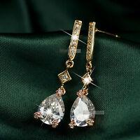 18k rose gold gf made with tear drop SWAROVSKI crystal stud earrings dangle