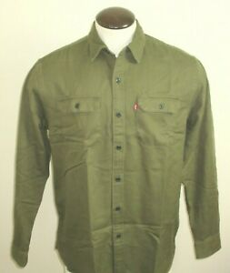 Levi's Mens Button Up Jackson Twill Work Shirt Olive Green Classic Free Ship NWT