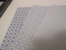 Miniature Dollhouse Wallpaper J. Hermes.  Tile Floor Combo blue/white 1:12 scale