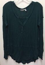 LUQ Women's Thermal Nordstrom Henley Shirt Top Size M Dark Teal B3