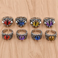 Vintage Alloy Punk Multi-colored Evil Eye Open Ring Adjusted Fashion Jewelry