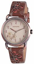 AKLS-0250L Kahuna Ladies/ Girls Watch/ Clear Dial & Pretty Brown Leather Straps