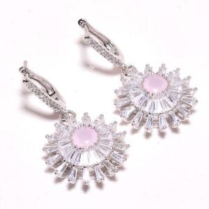 """Madagascar Rose Quartz & White Topaz 925 Sterling Silver Earring 1.56"""" F1885"""